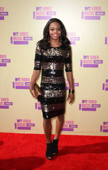 Gabby Douglas in a sequined dress