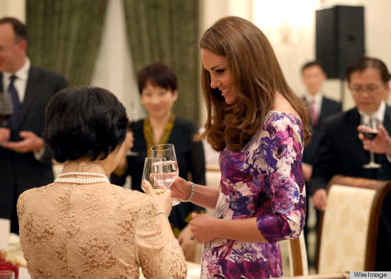 Kate Middleton toasts with water again at the British Gala Reception at Eden Hall on Thursday