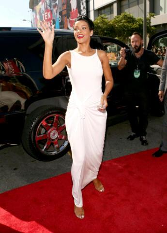 Rihanna resplendent in white
