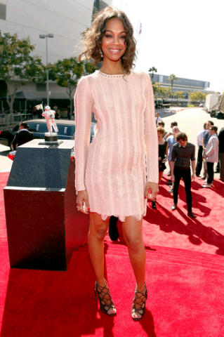 Zoe Saldana in a nude Salvatore Ferragamo Spring 2012 dress and Ferragamo strappy heels