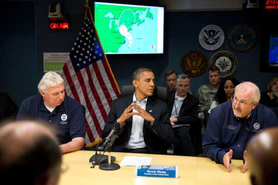 President Obama taking briefing on Hurricane Sandy in the White House