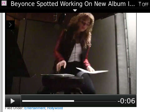 Screenshot of video of Beyoncé recording in the studio recently