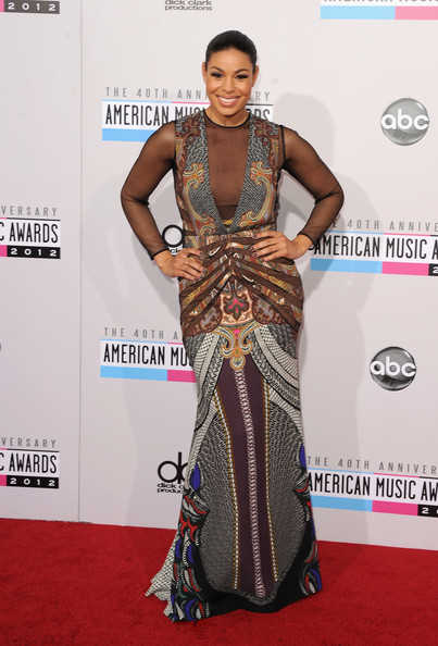 Jordin Sparks in a multi-print long gown from the Etro Fall 2012 collection