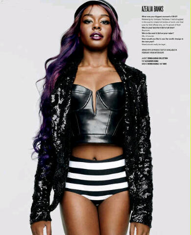 Azealia in a Donna Karan Collection jacket, Alexander Wang bustier, Norma Kamali briefs & Dior hat