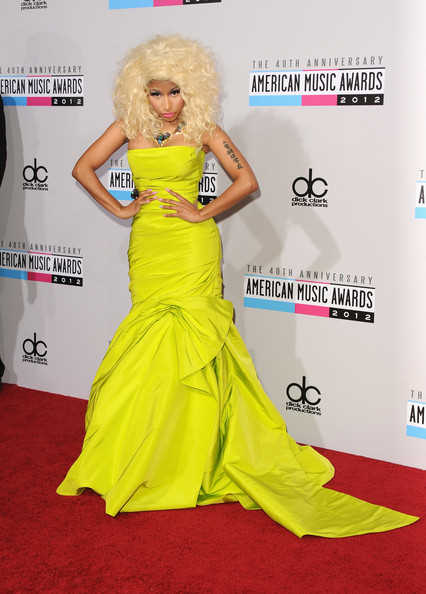 Nicki Minaj in a strapless ruched dress with a very full bottom from Monique  Lhuillier